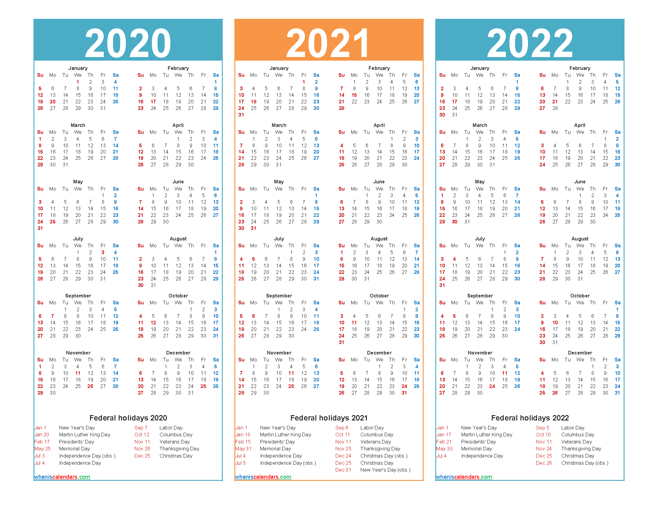 3 Year Calendar 2020 To 2022 Printable – Free Printable 2020