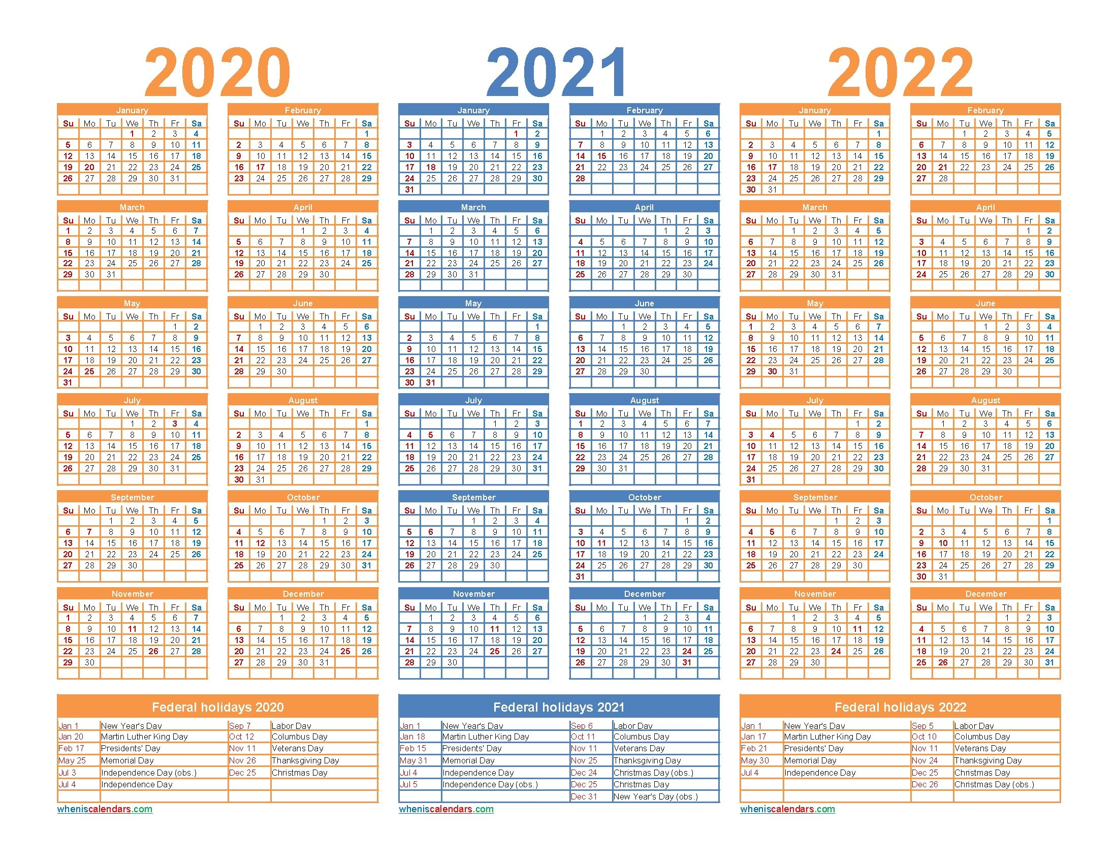 3 Year Calendar 2021 To 2023 In 2020 | Calendar Printables