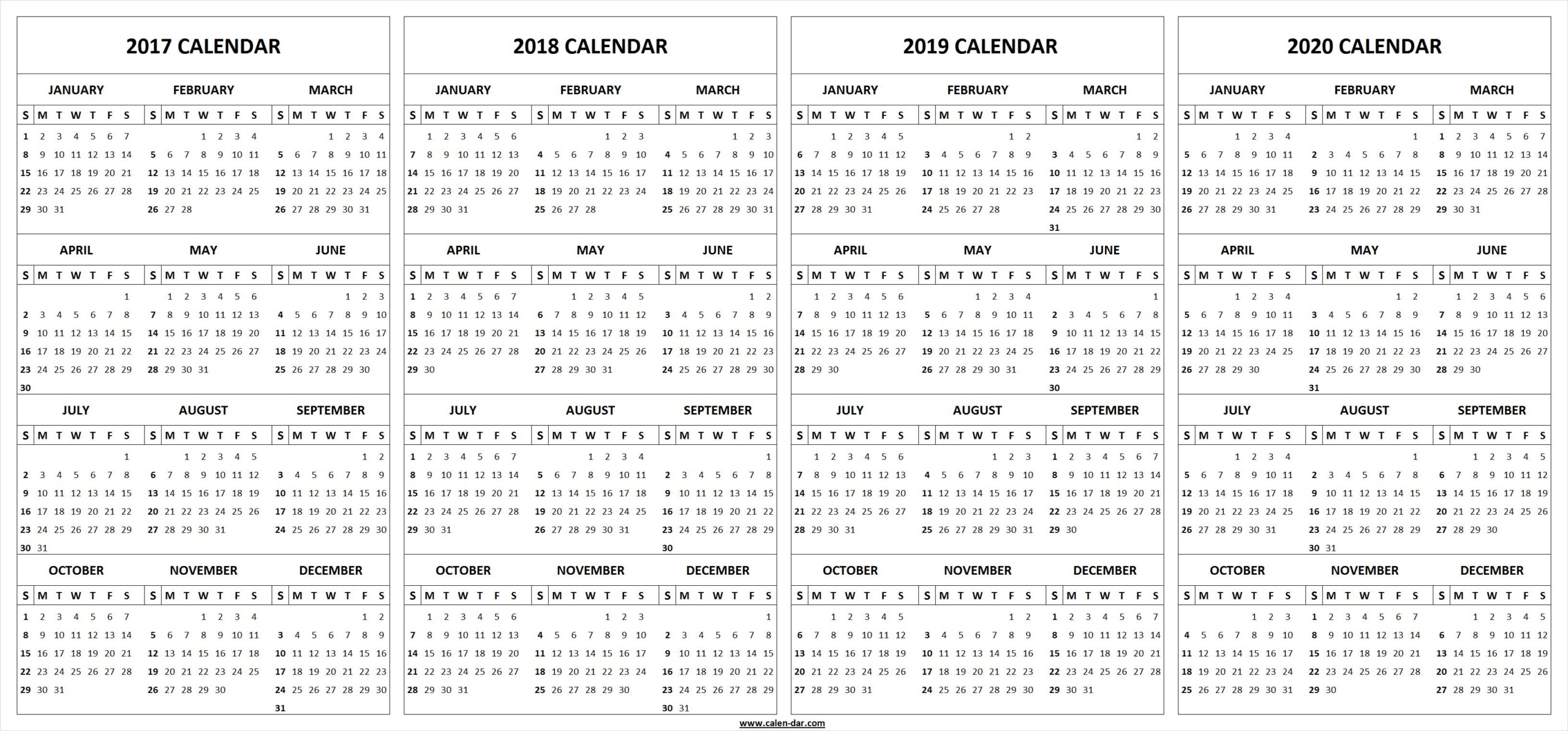 4 Four Year 2017 2018 2019 2020 Calendar Printable Template