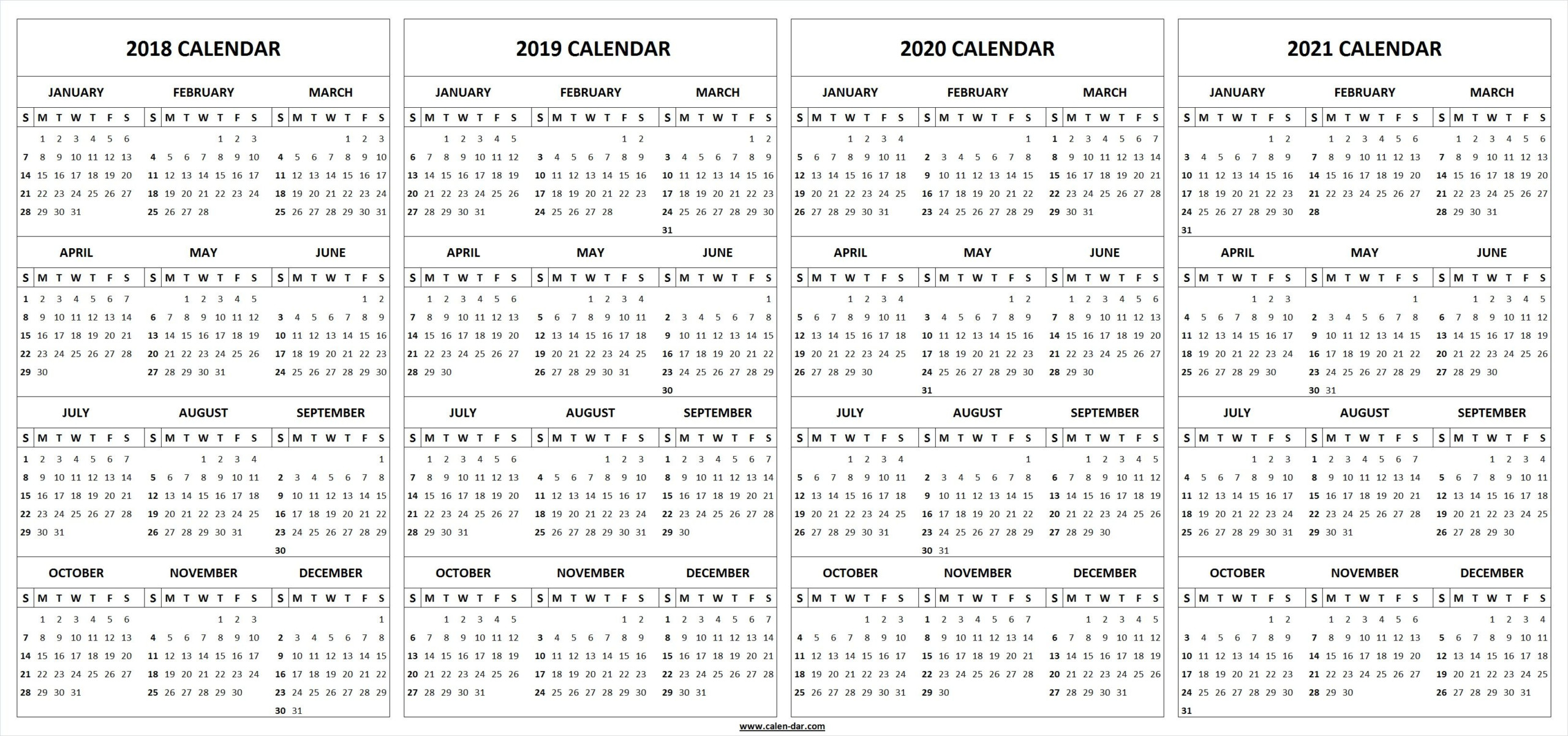 4 Four Year 2018 2019 2020 2021 Calendar Printable Template