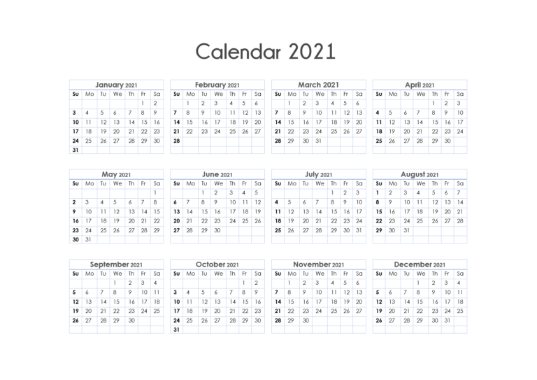 56+ Printable Calendar 2021 One Page, 2021 Calendar One Page