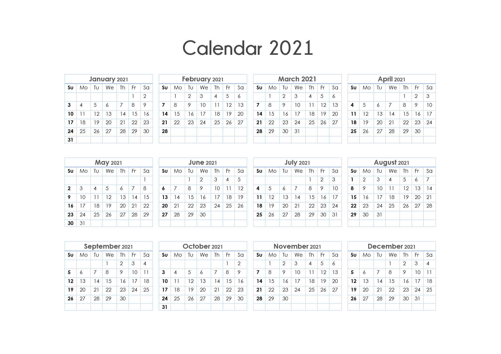 56+ Printable Calendar 2021 One Page, Printable 2021 Yearly