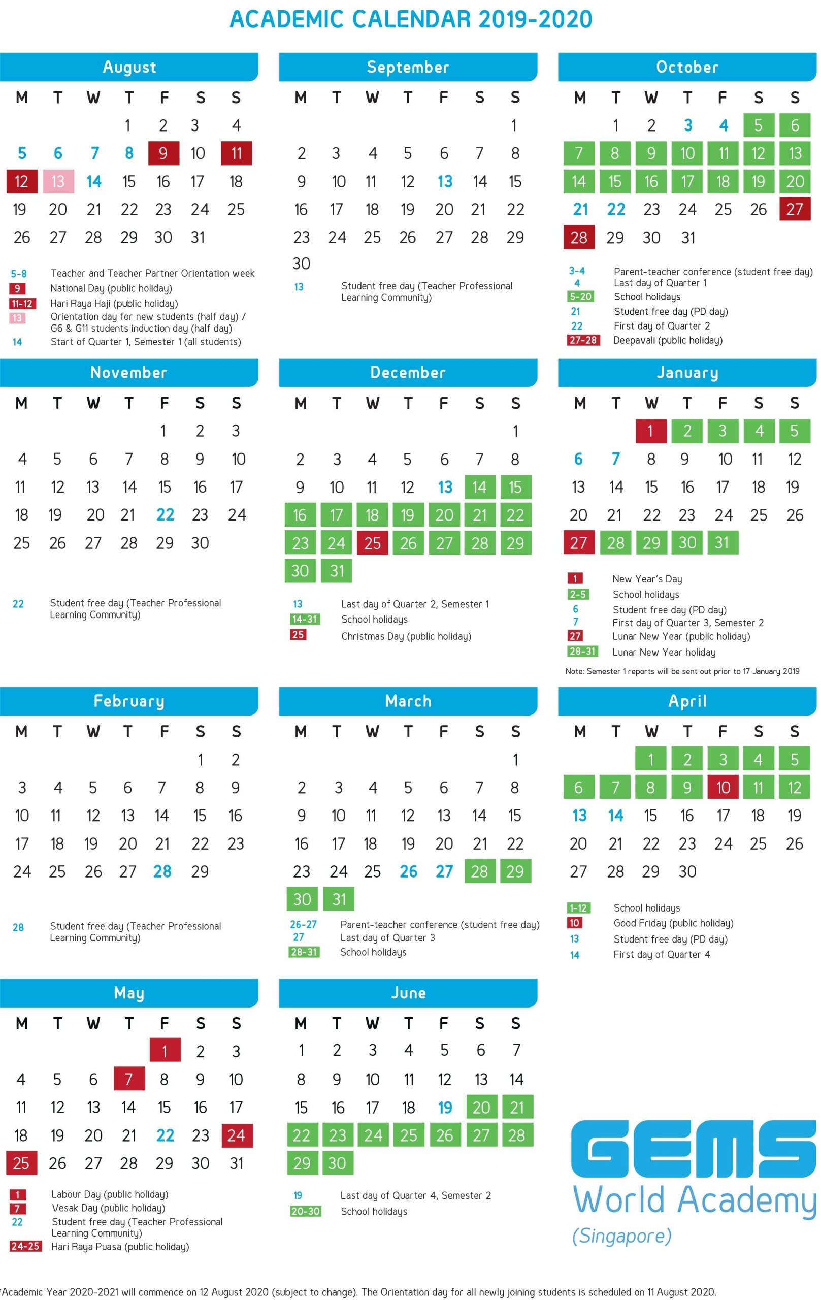 Academic Calendar | Gems World Academy (Singapore) Make It
