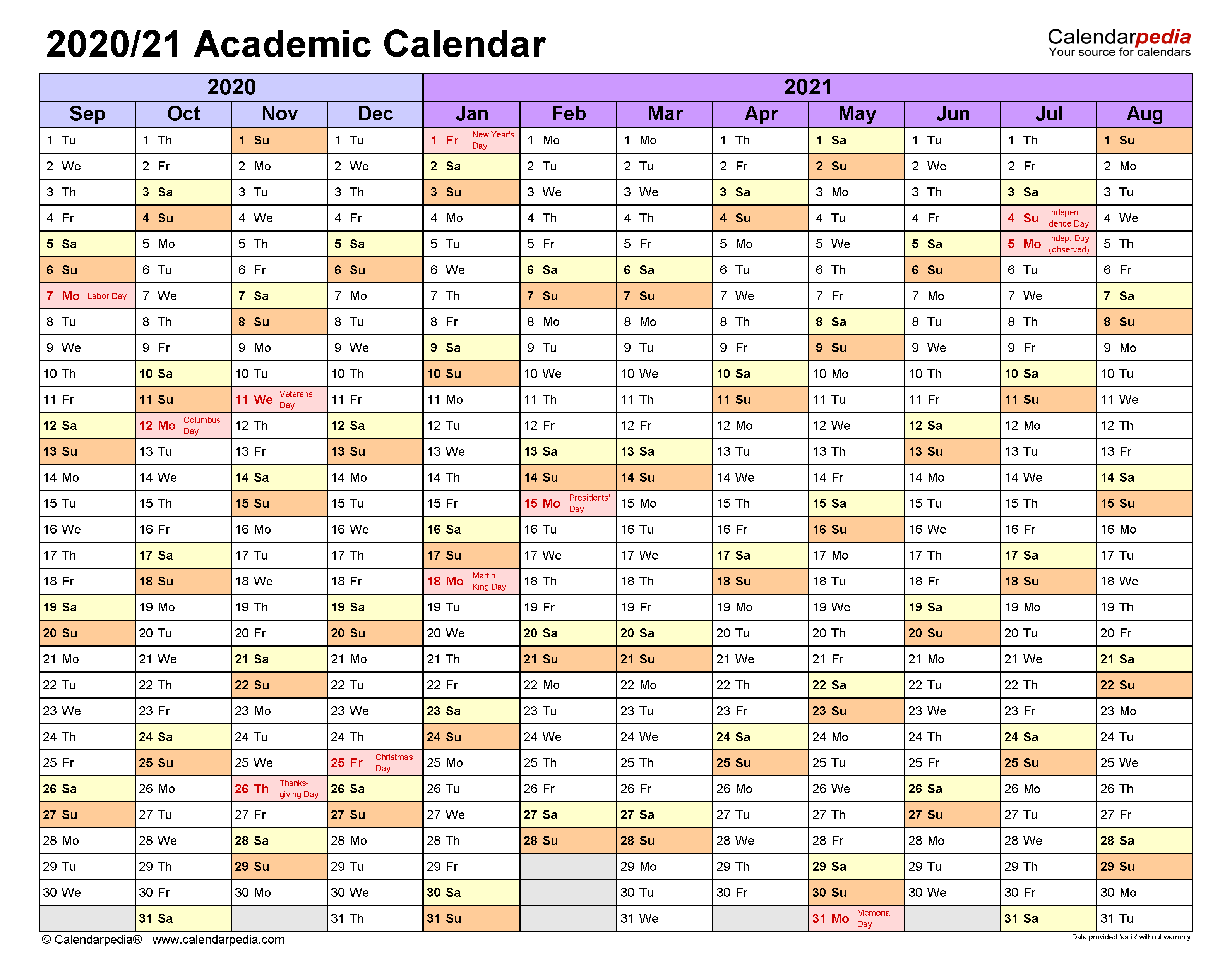 Academic Calendars 2020/2021 - Free Printable Excel Templates