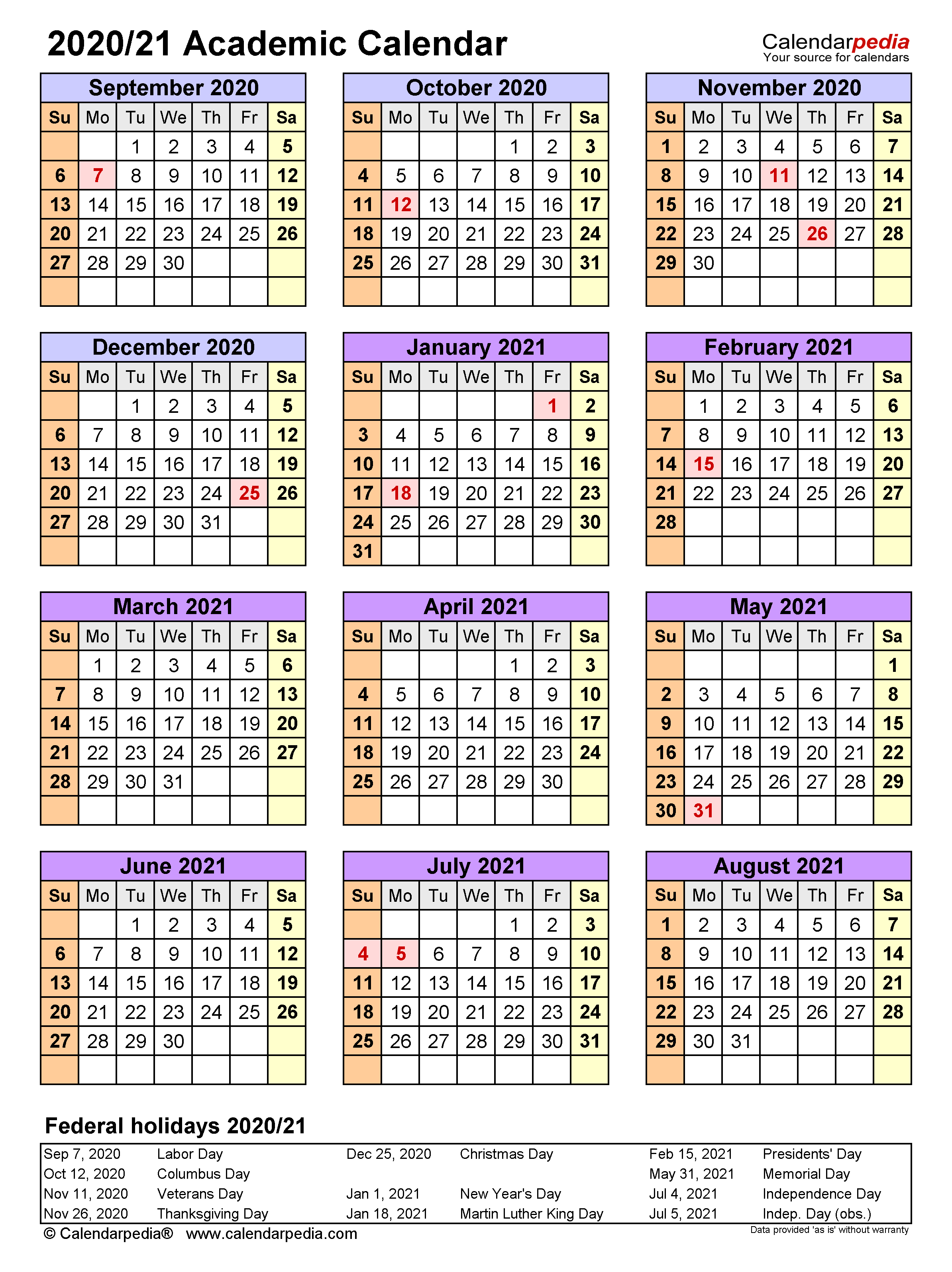 Academic Calendars 2020/2021 - Free Printable Word Templates