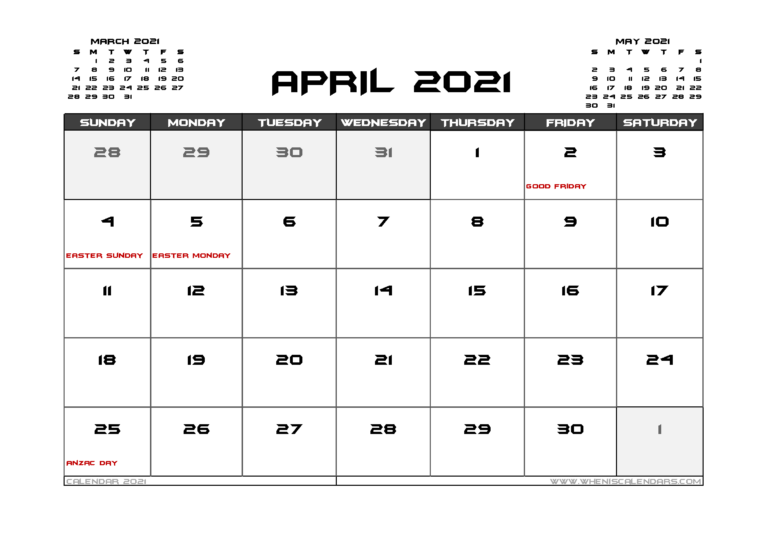 April 2021 Calendar Australia Printable In 2020 | Calendar