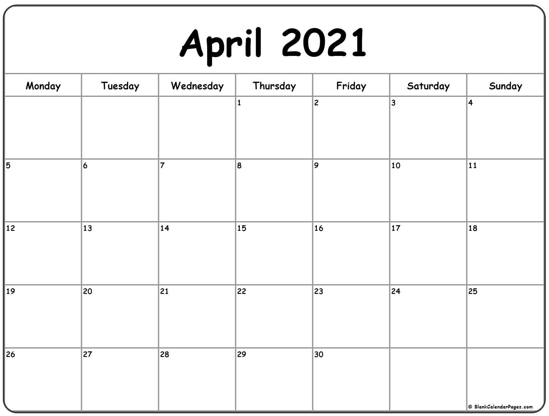 April 2021 Monday Calendar | Monday To Sunday