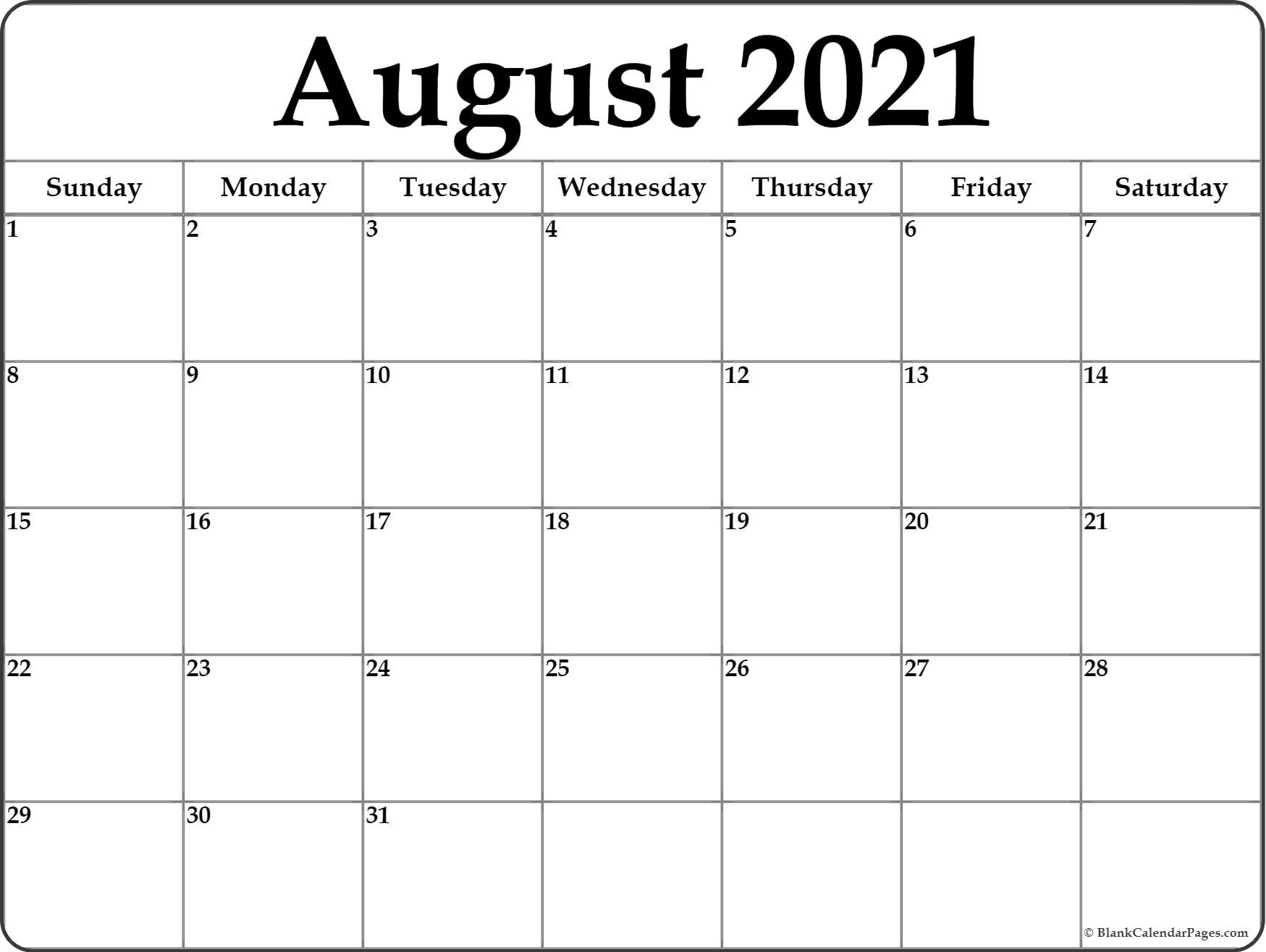 August 2021 Calendar | Free Printable Monthly Calendars