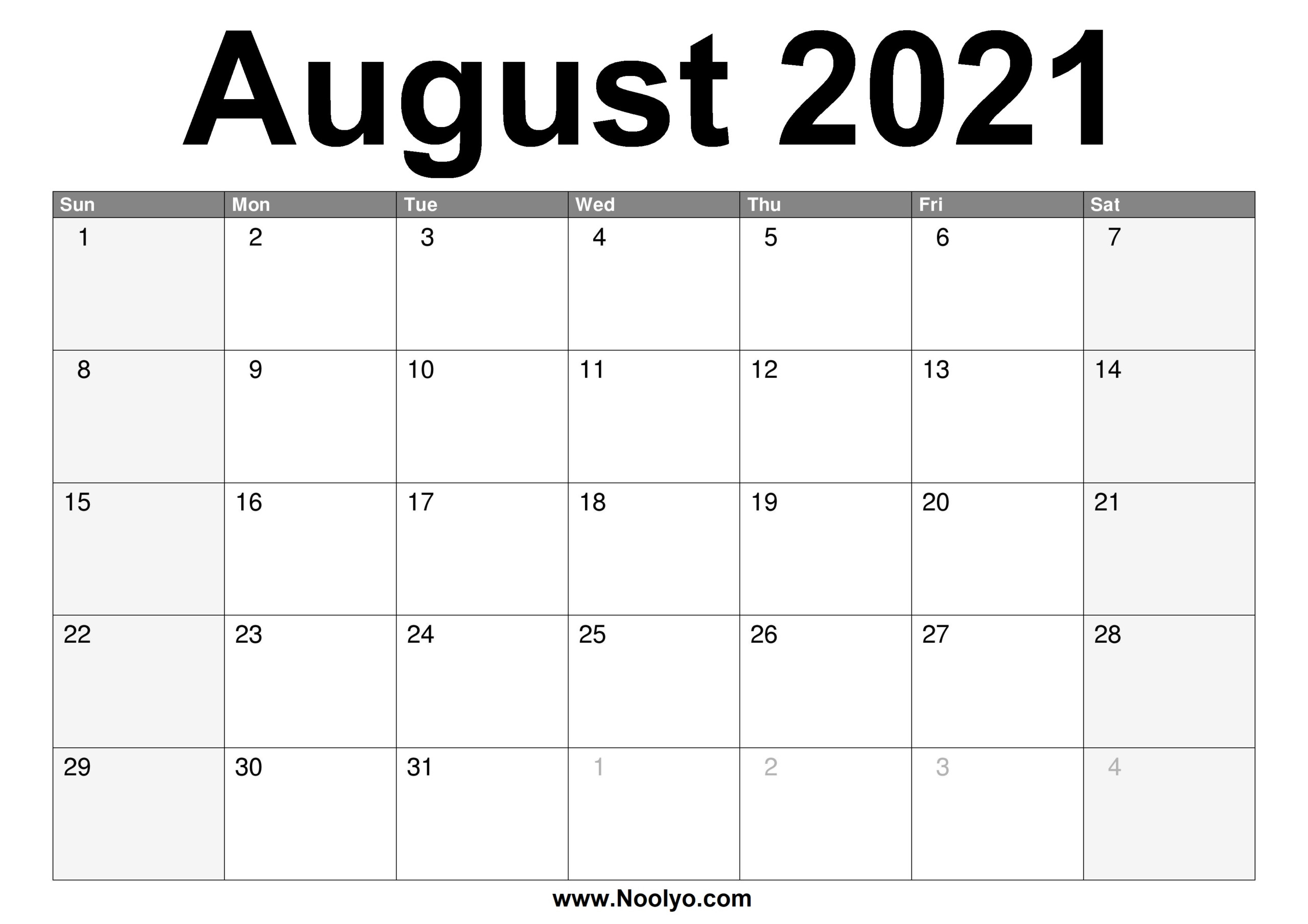 August 2021 Calendar Printable – Free Download – Noolyo