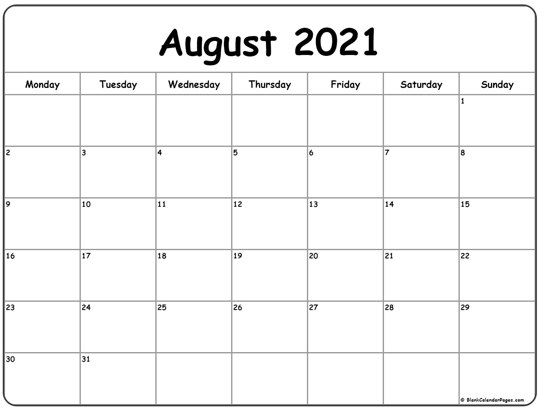 August 2021 Monday Calendar | Monday To Sunday
