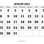 August 2021 Printable Calendar | Free Download Monthly