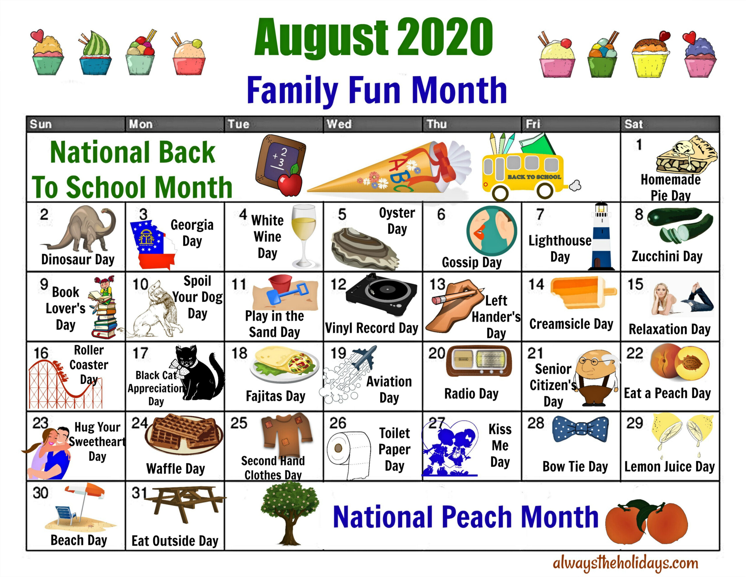 August National Day Calendar - Free Printable Of National Days
