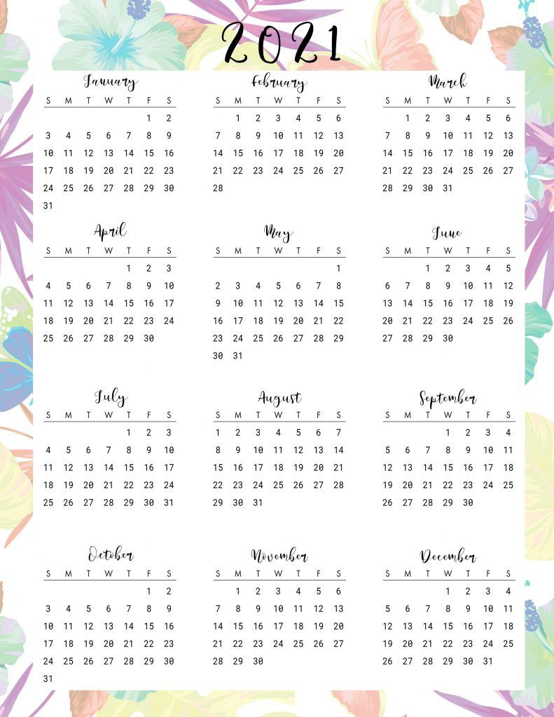 Beautiful Floral Daily Planner Printables With Calendar 2021