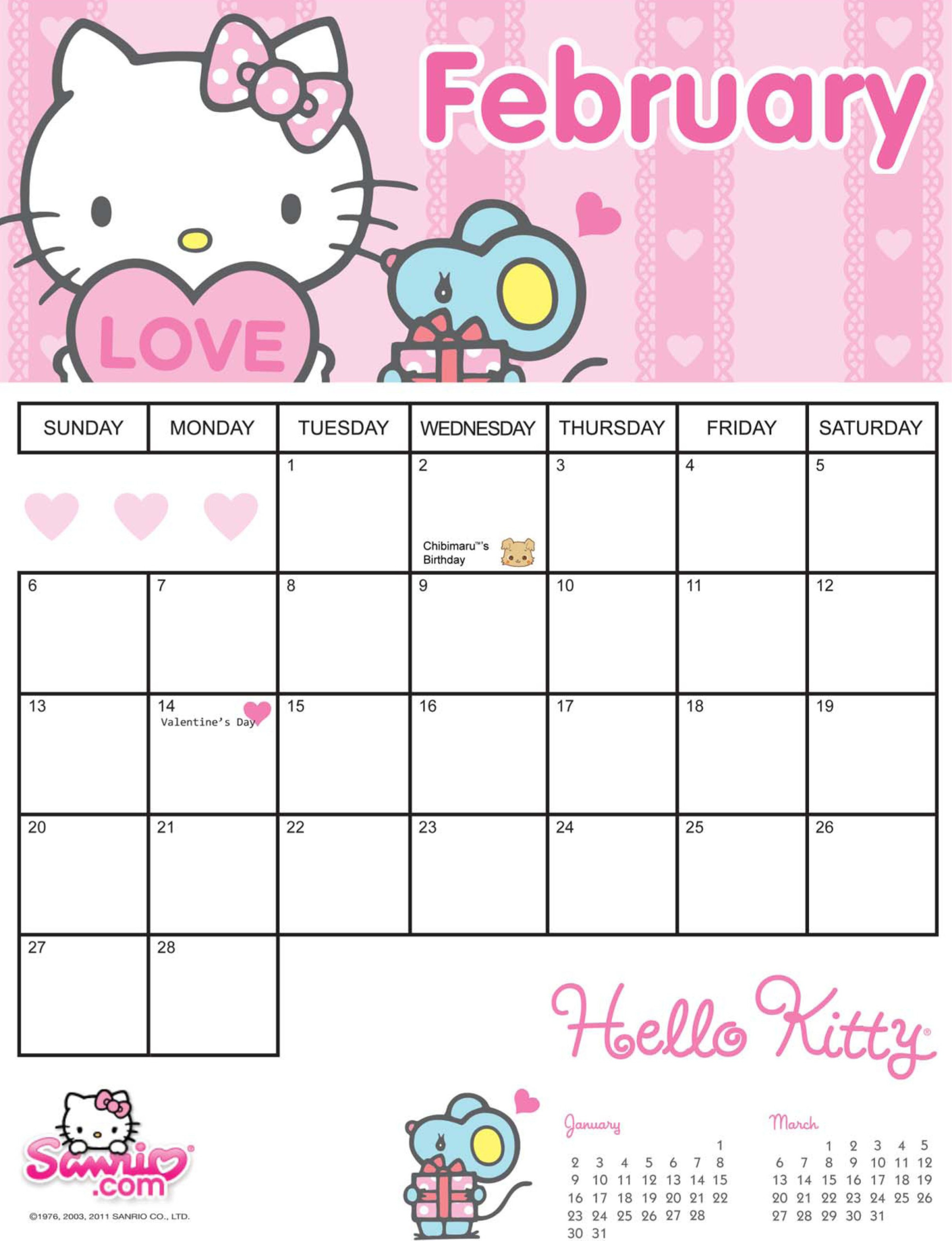 Best Of Hello Kitty Printable Calendar | Free Printable