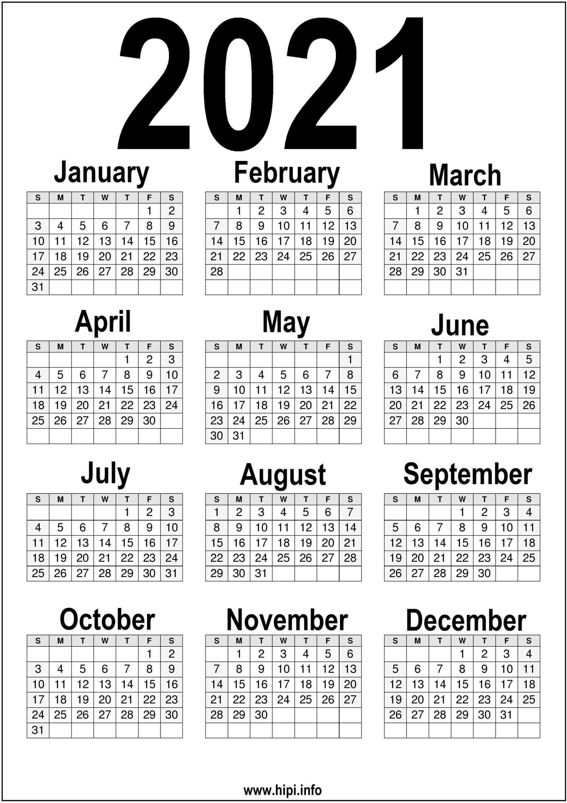 Black And White Printable 2021 Calendar - Hipi