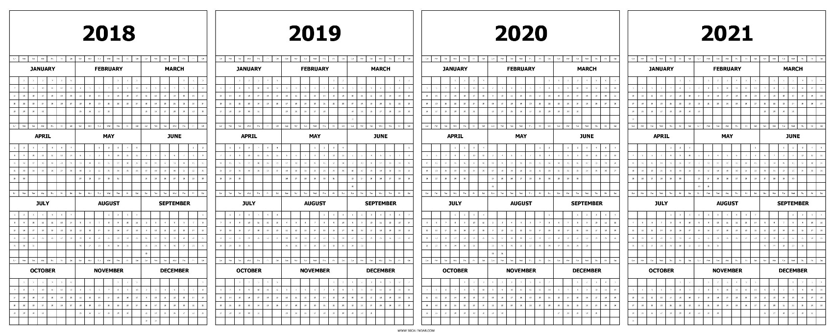 Blank 2018 To 2021 Calendar With Holidays | Three Year Template