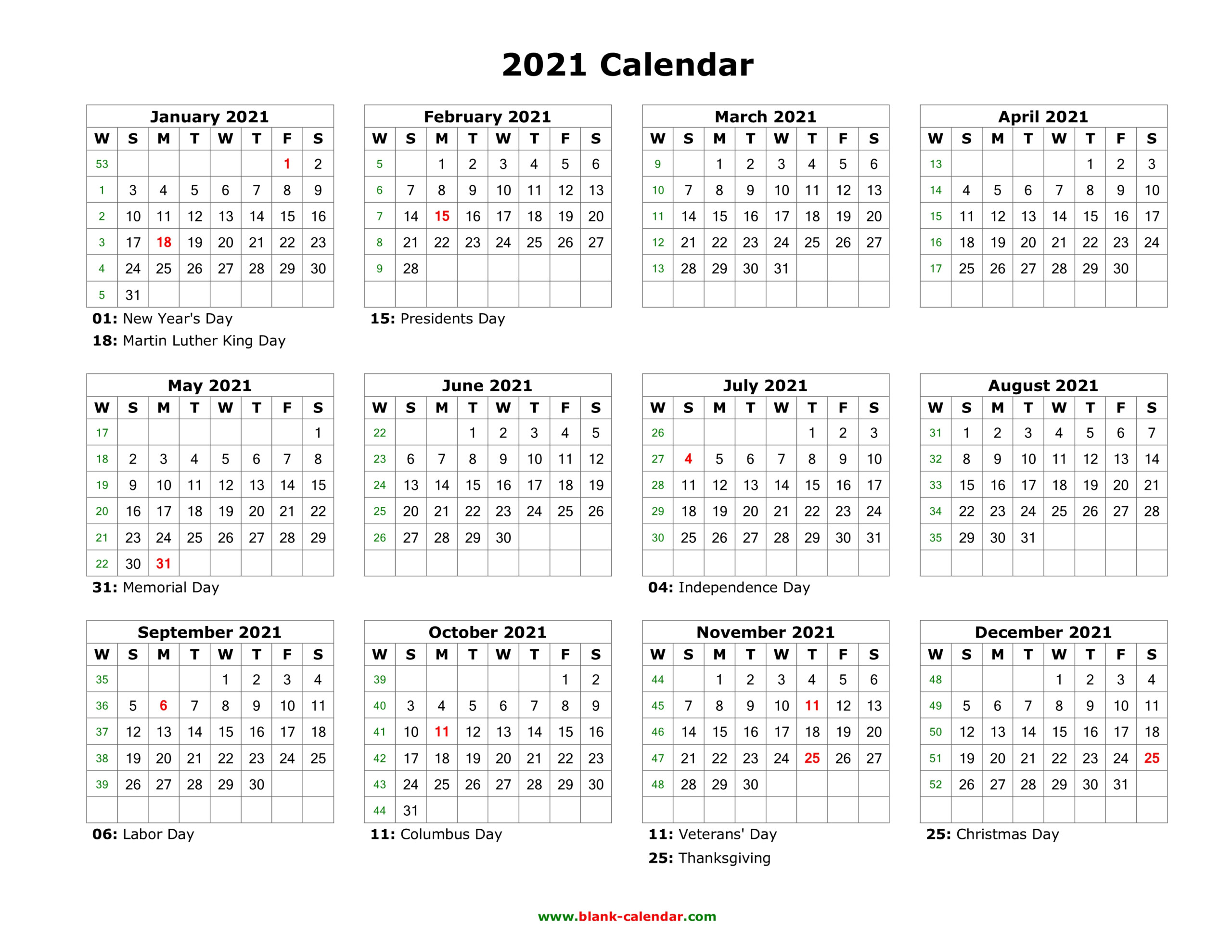 Blank Calendar 2021 | Free Download Calendar Templates