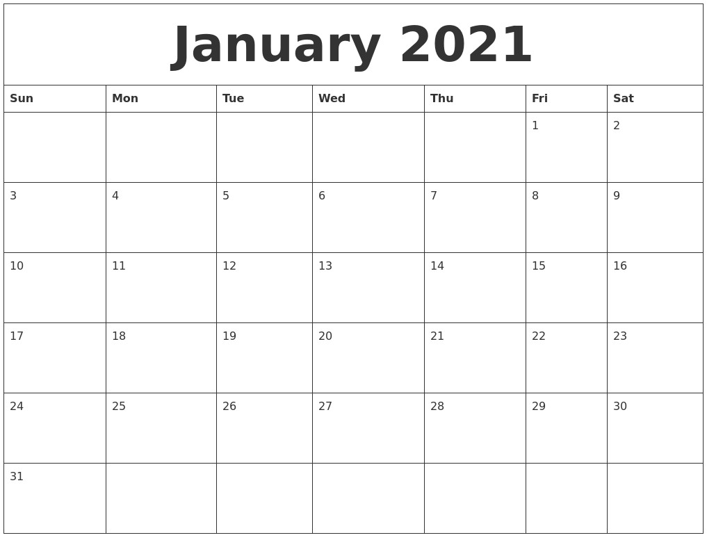 Blank Printable Calendar 2021 Monthly Downloadable | Free