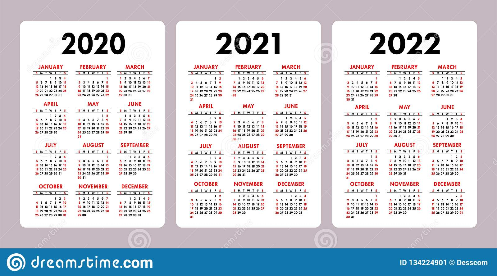 Calendar 2020, 2021, 2022 Years. Vertical Vector Calender
