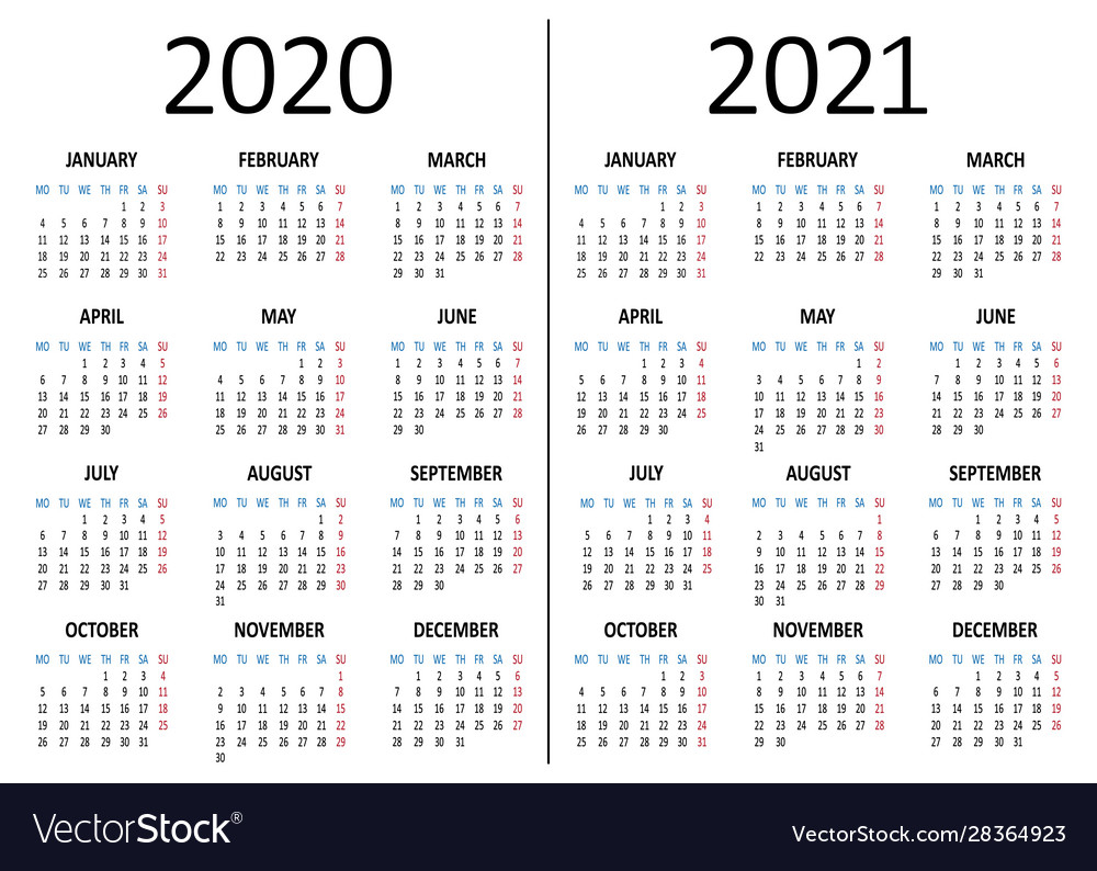 Calendar 2020 2021 Week Starts From Monday Vector Image