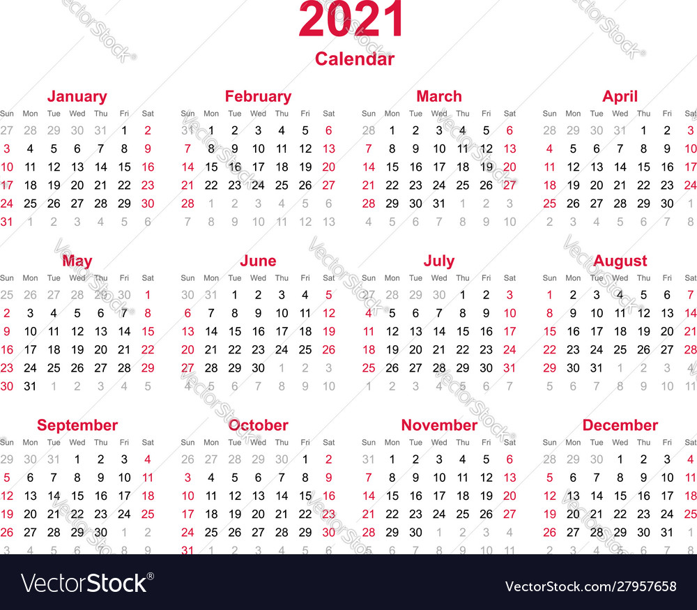 Calendar 2021 - 12 Months Yearly Calendar Vector Image