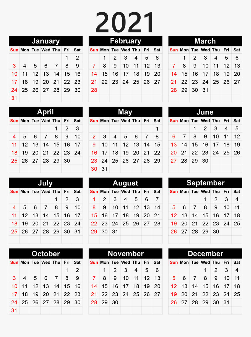 Calendar 2021 Png - Pocket Calendar 2020 Printable