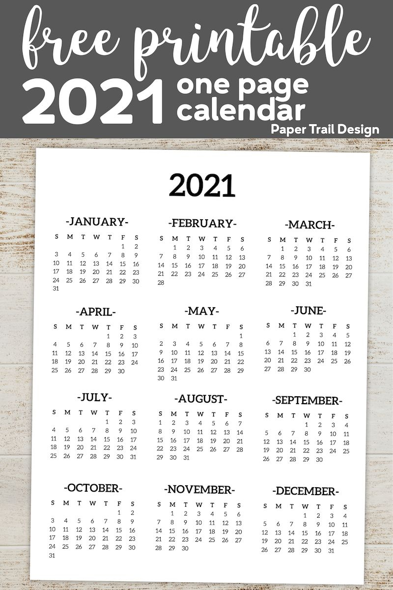 Calendar 2021 Printable One Page   Paper Trail Design In