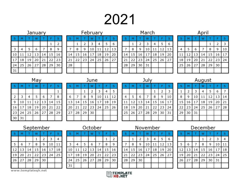 Calendar 2021 To Print Free Simple For All Users   Free
