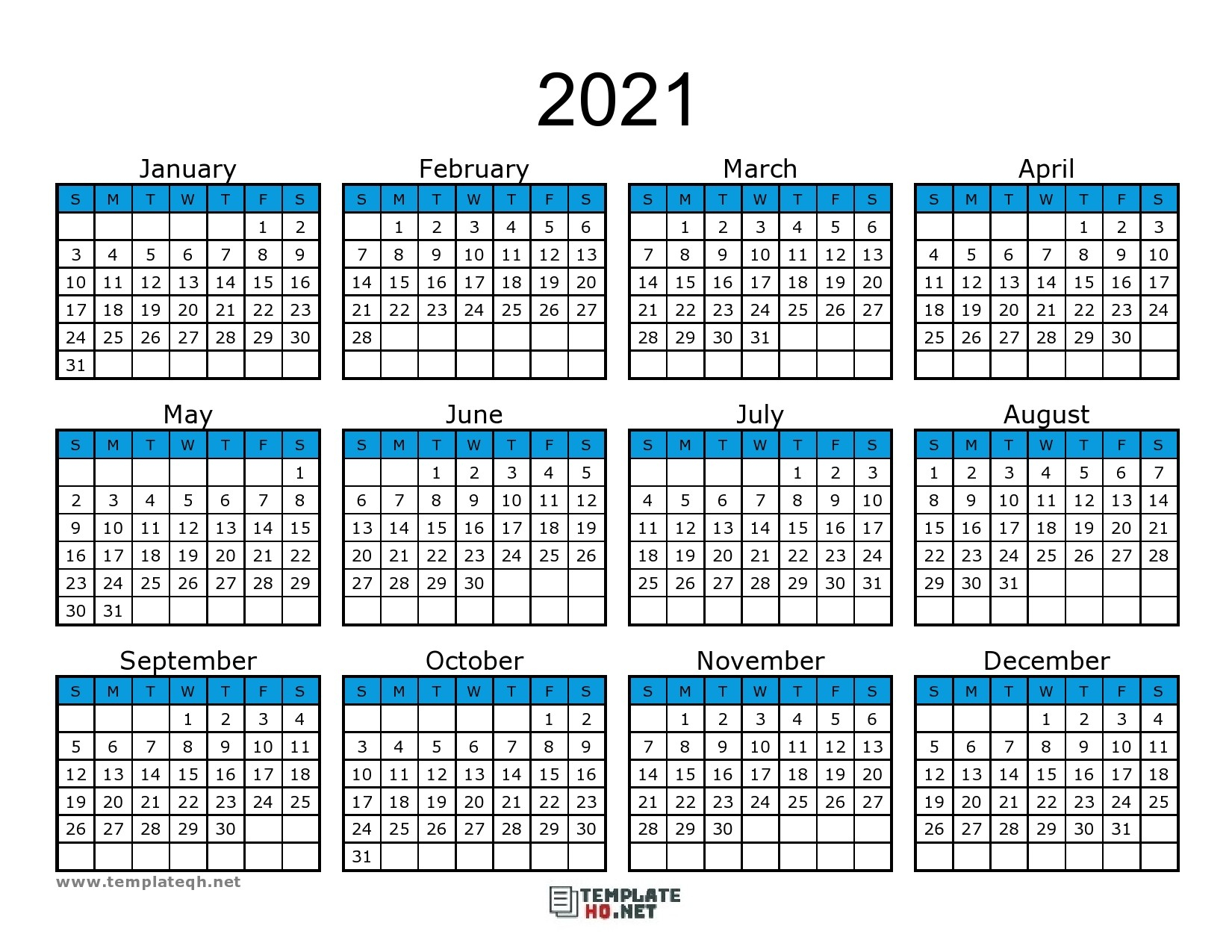 Calendar 2021 To Print Free Simple For All Users | Free
