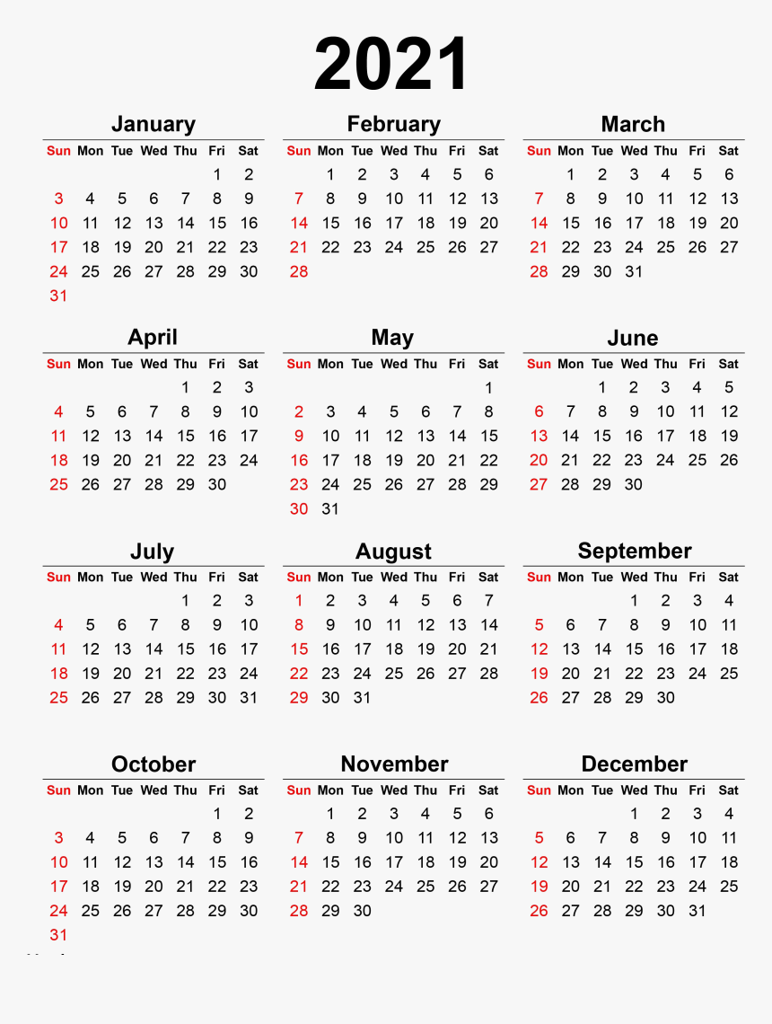 Calendar 2021 Transparent Background Png - 2020 Printable
