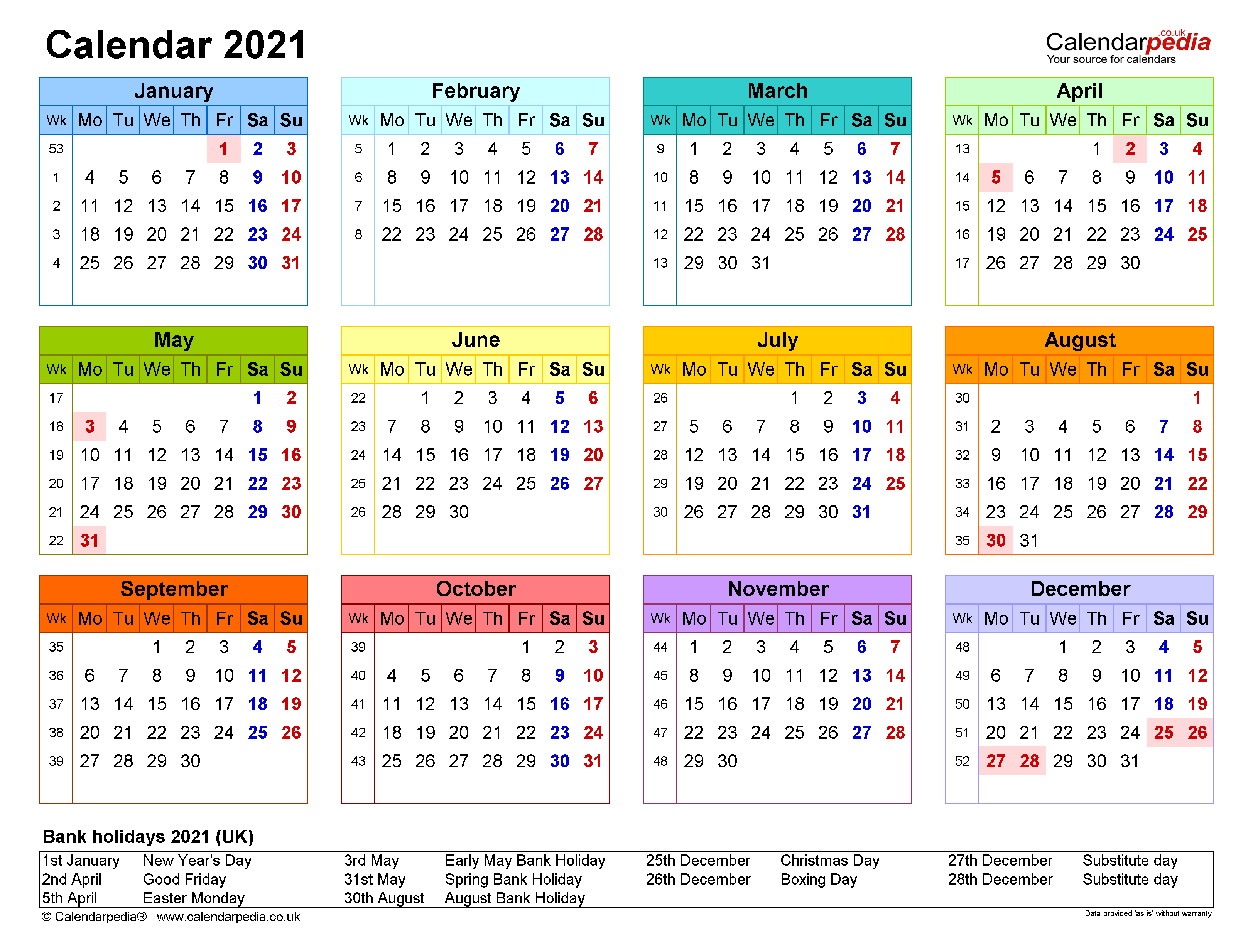 Calendar 2021 (Uk) - Free Printable Pdf Templates