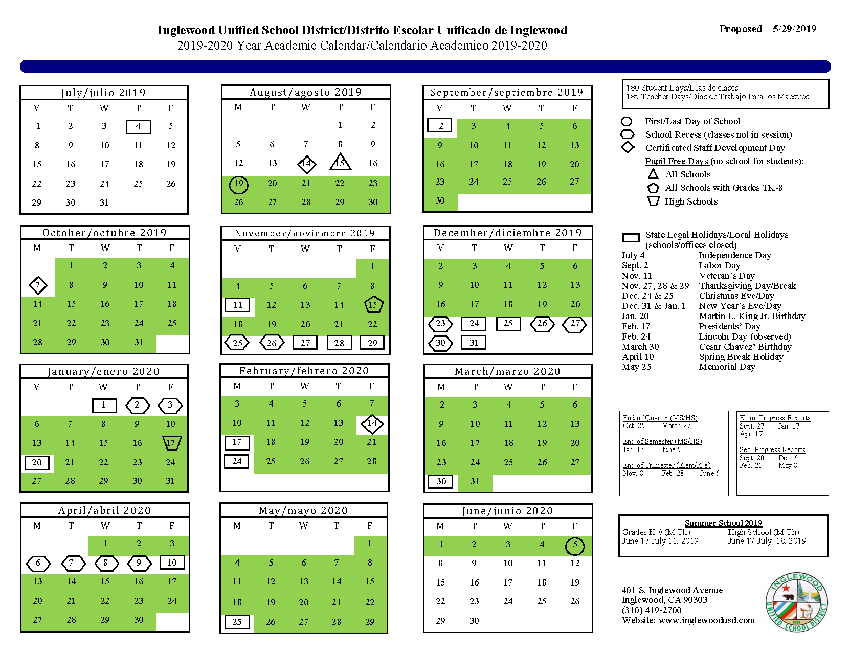 Calendar – About Us – Inglewood Unified School District