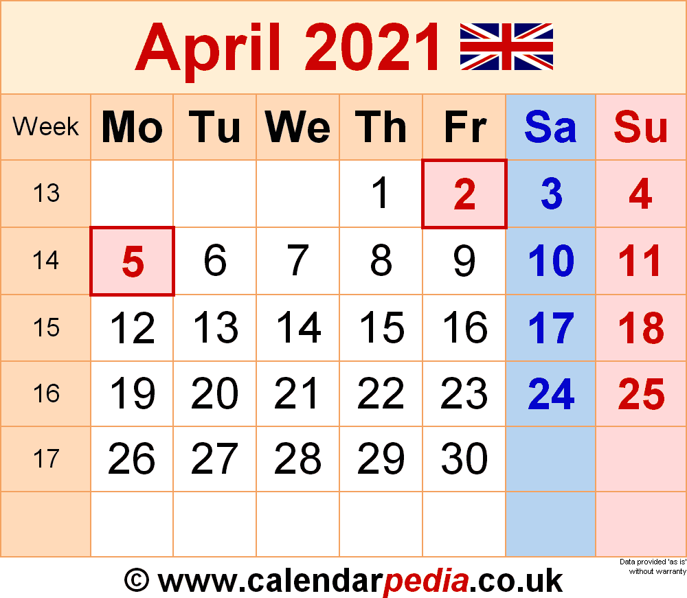 Calendar April 2021 Uk With Excel, Word And Pdf Templates
