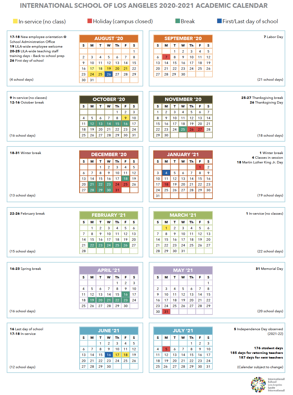 Calendar | International School Of Los Angeles