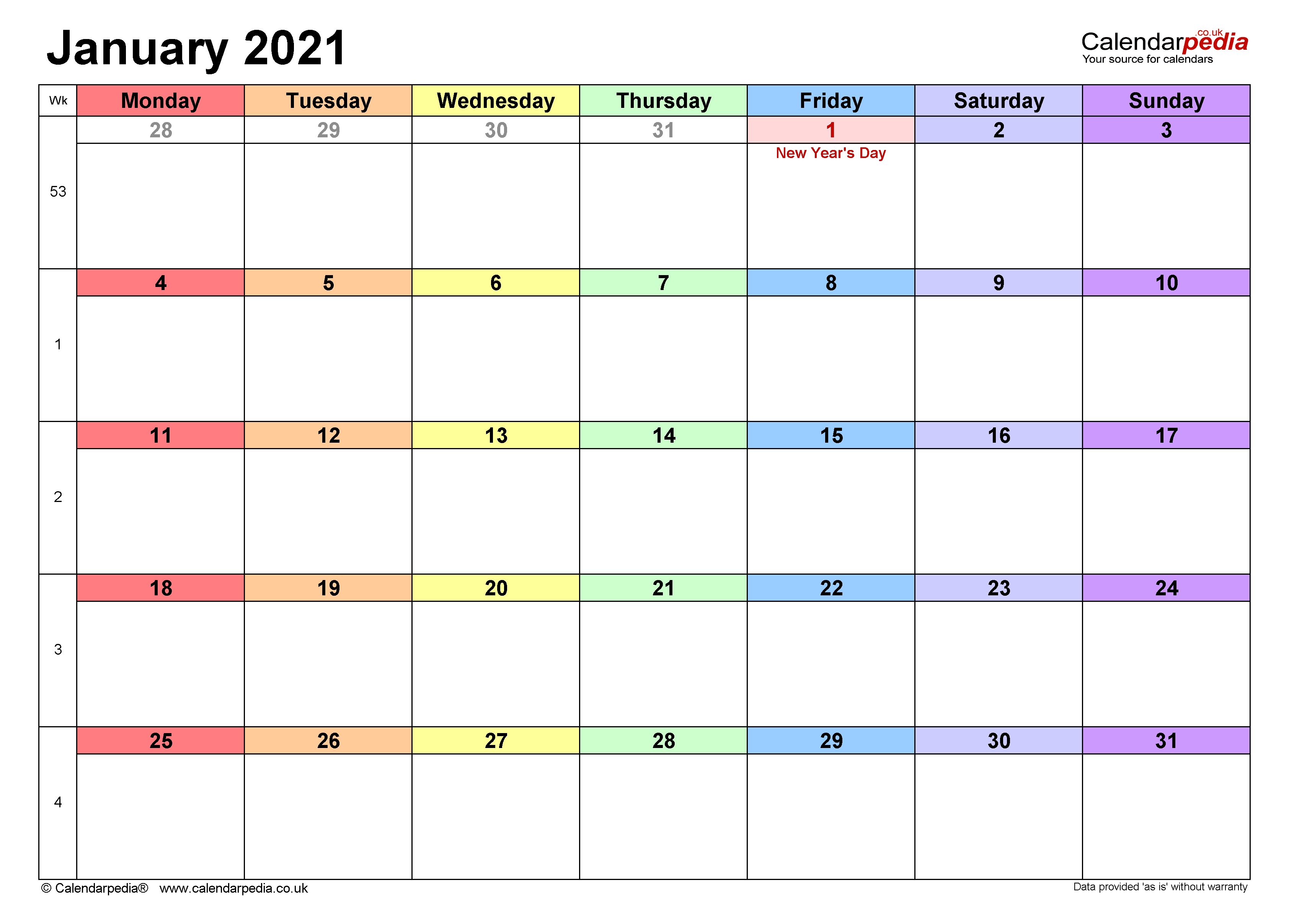 Calendar January 2021 Uk With Excel, Word And Pdf Templates