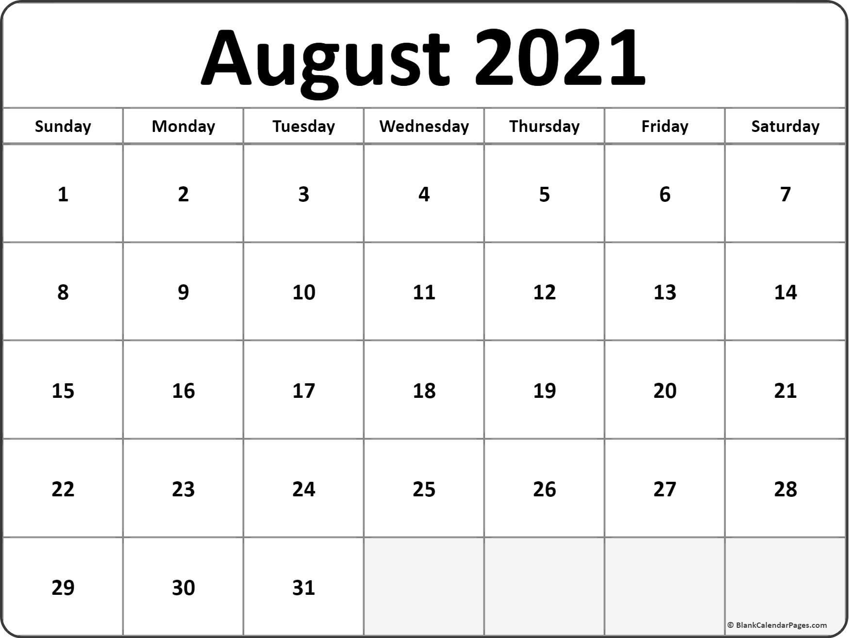 Calendar Monthly 2021 Printable August Full Page