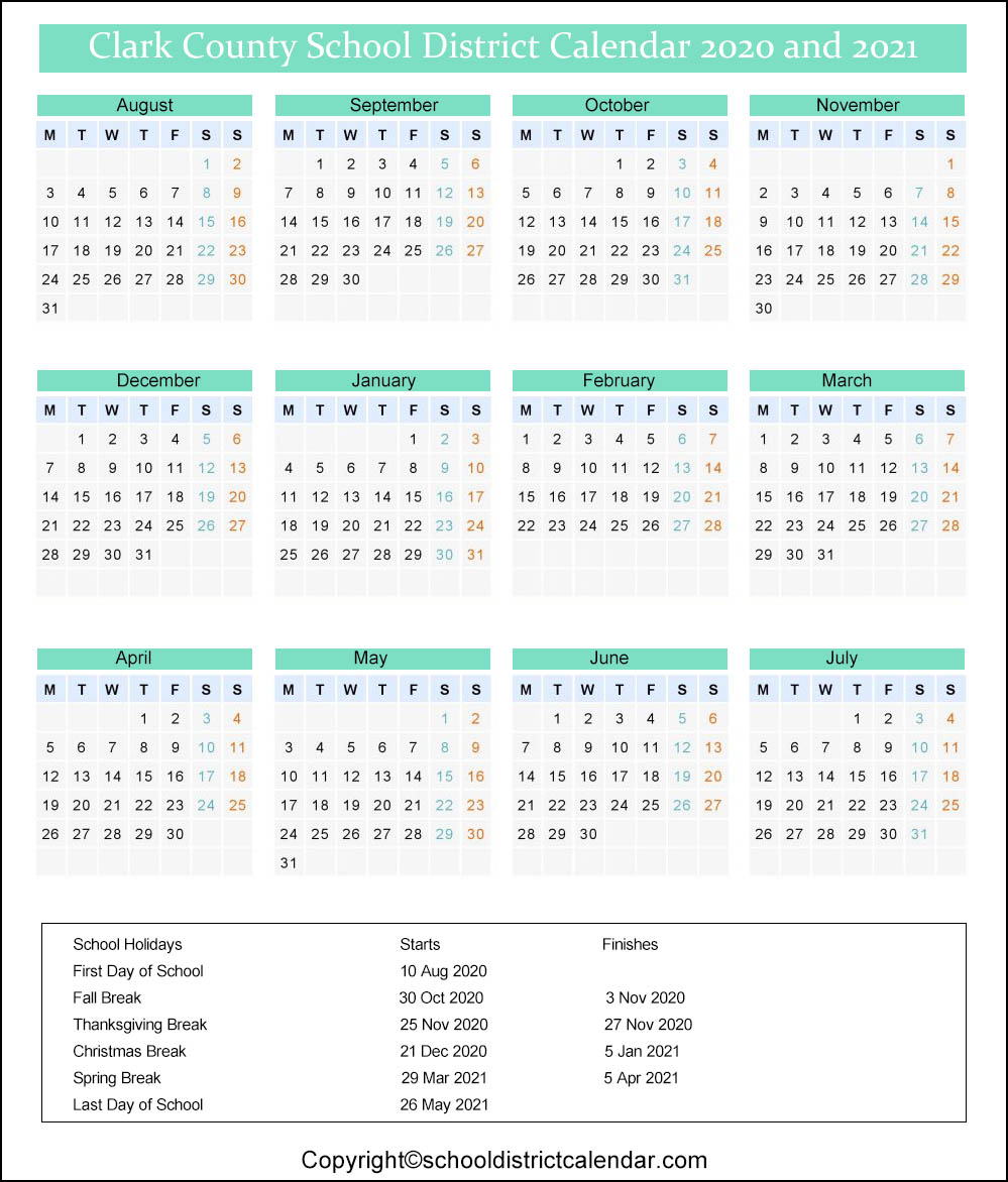 Clark School District Calendar Holidays 2020-2021
