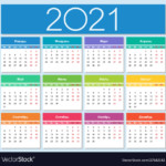 Colorful Year 2021 Calendar Russian Language Vector Image