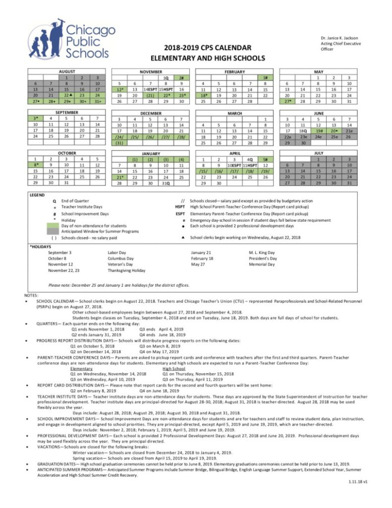 Cps Calendar For 2018-2019 School Year – Beaubien Elementary