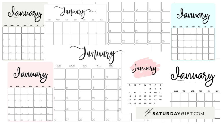Cute (& Free!) Printable January 2021 Calendar | Saturdaygift