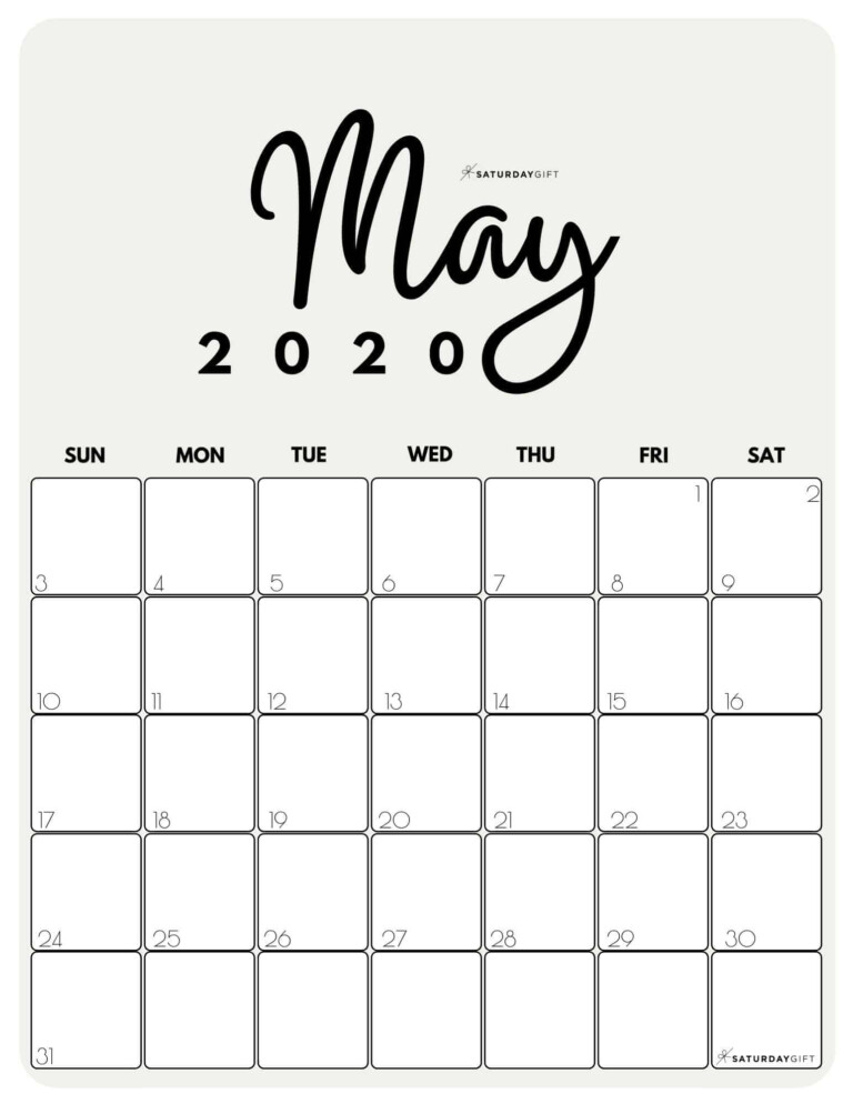 Cute (& Free!) Printable May 2021 Calendar | Saturdaygift In