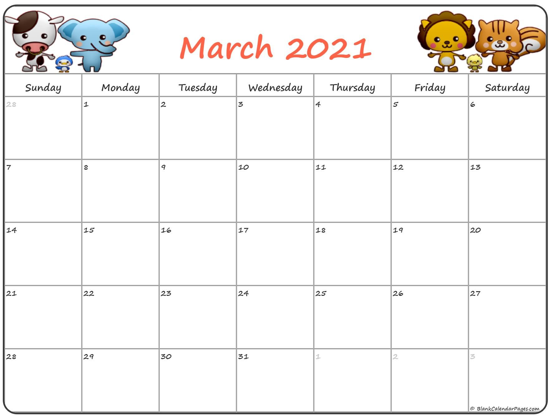 Cute March 2021 Calendar In 2020 | Kids Calendar, Calendar