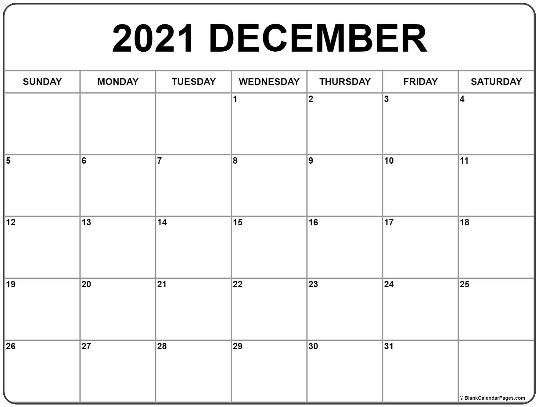 December 2021 Calendar | Free Printable Monthly Calendars