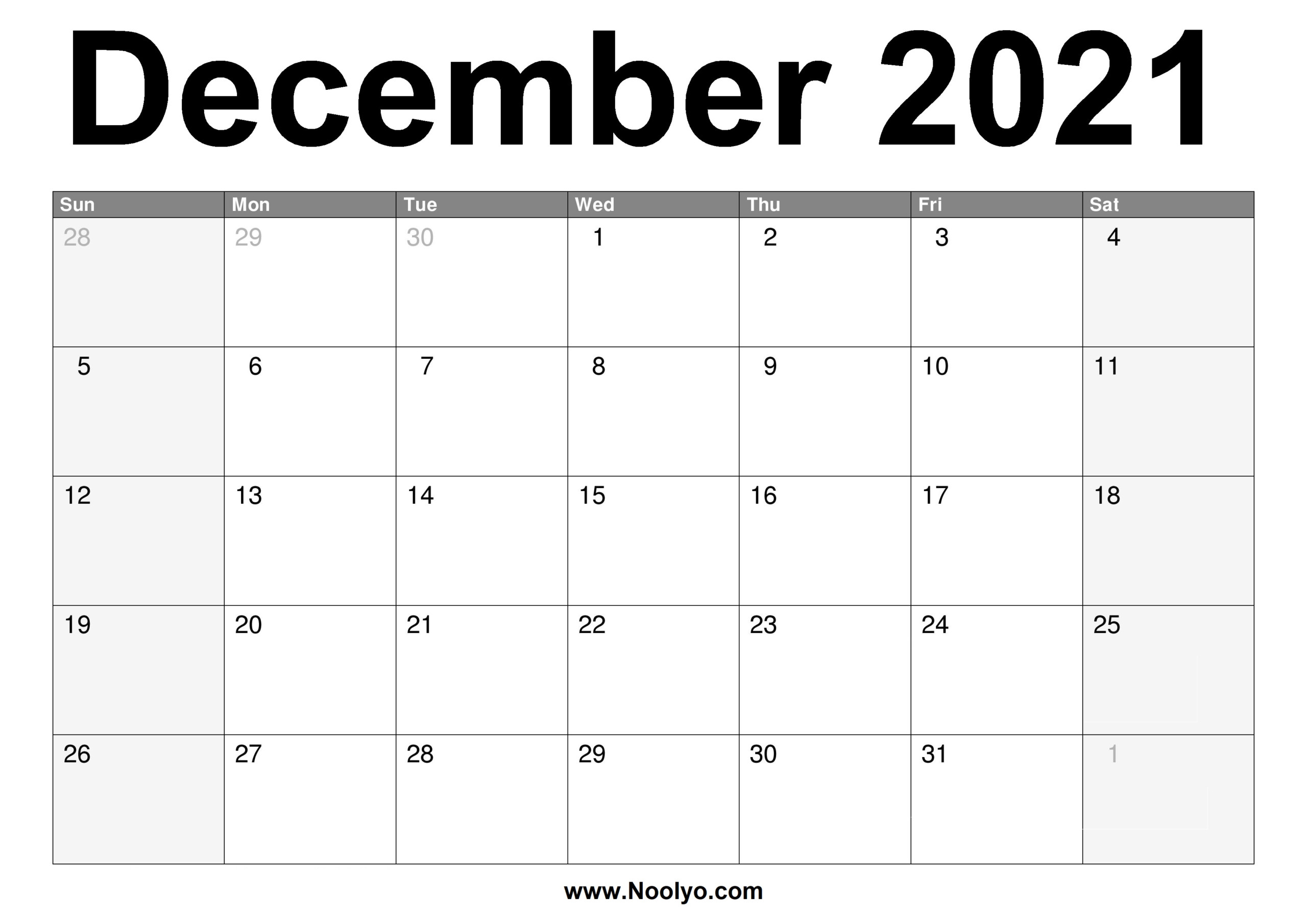 December 2021 Calendar Printable – Free Download – Noolyo