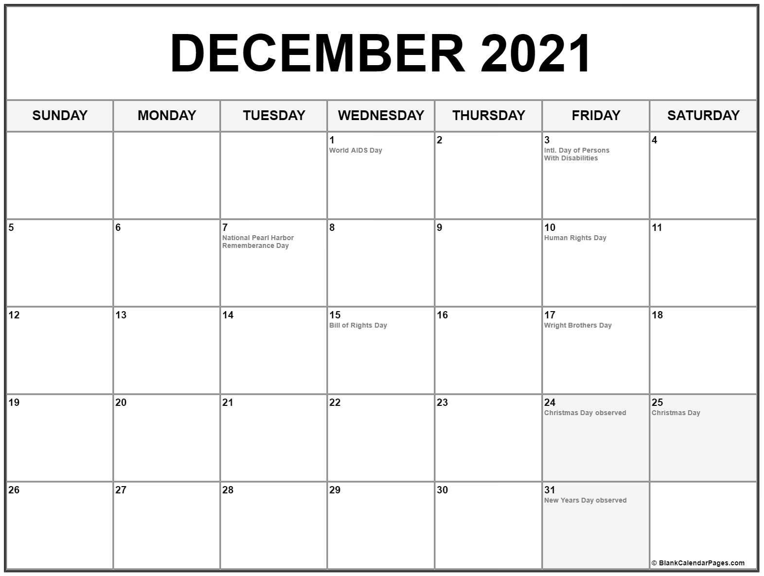 December 2021 Calendar With Holidays