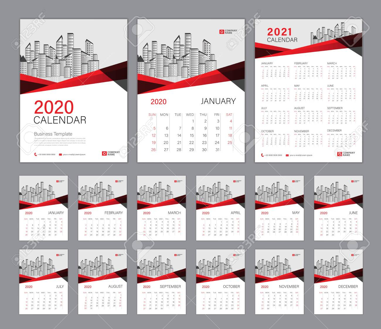 Desk Calendar 2020 Template, Calendar 2021, Cover Design. Week Starts On  Sunday, Set Of 12 Months, Planner Template. Red Polygon Shape Background