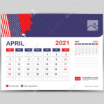 Desk Calendar 2021 Template, April Page Vector For Calendar 2021..