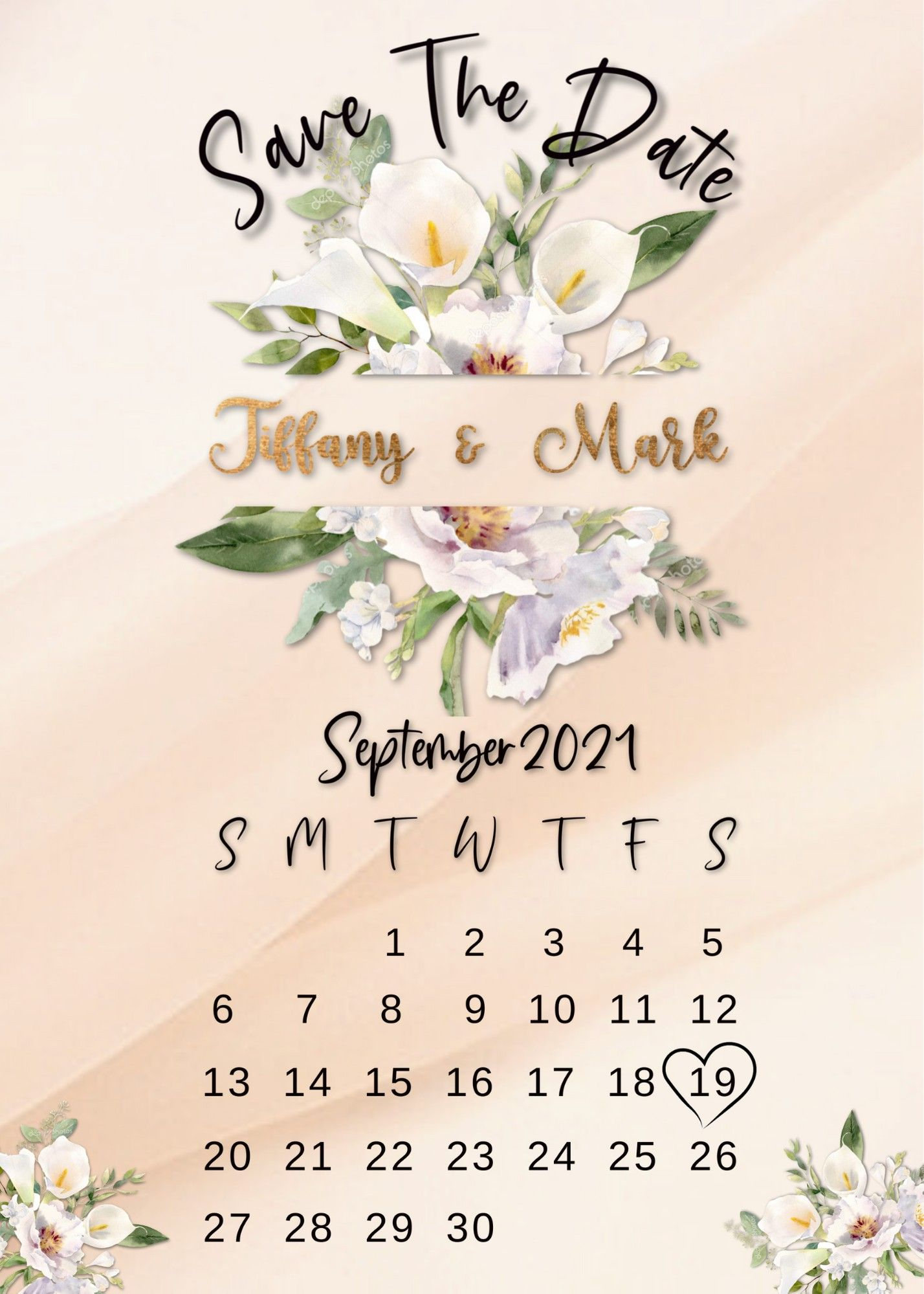 Digital Save The Date Calendar, Change The Date Card, Floral