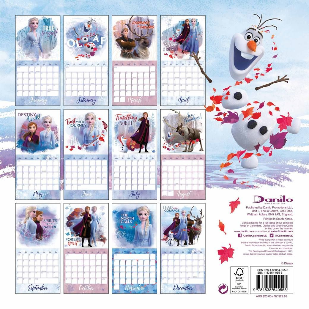 Disney, Frozen 2 Official Calendar 2021 At Calendar Club In