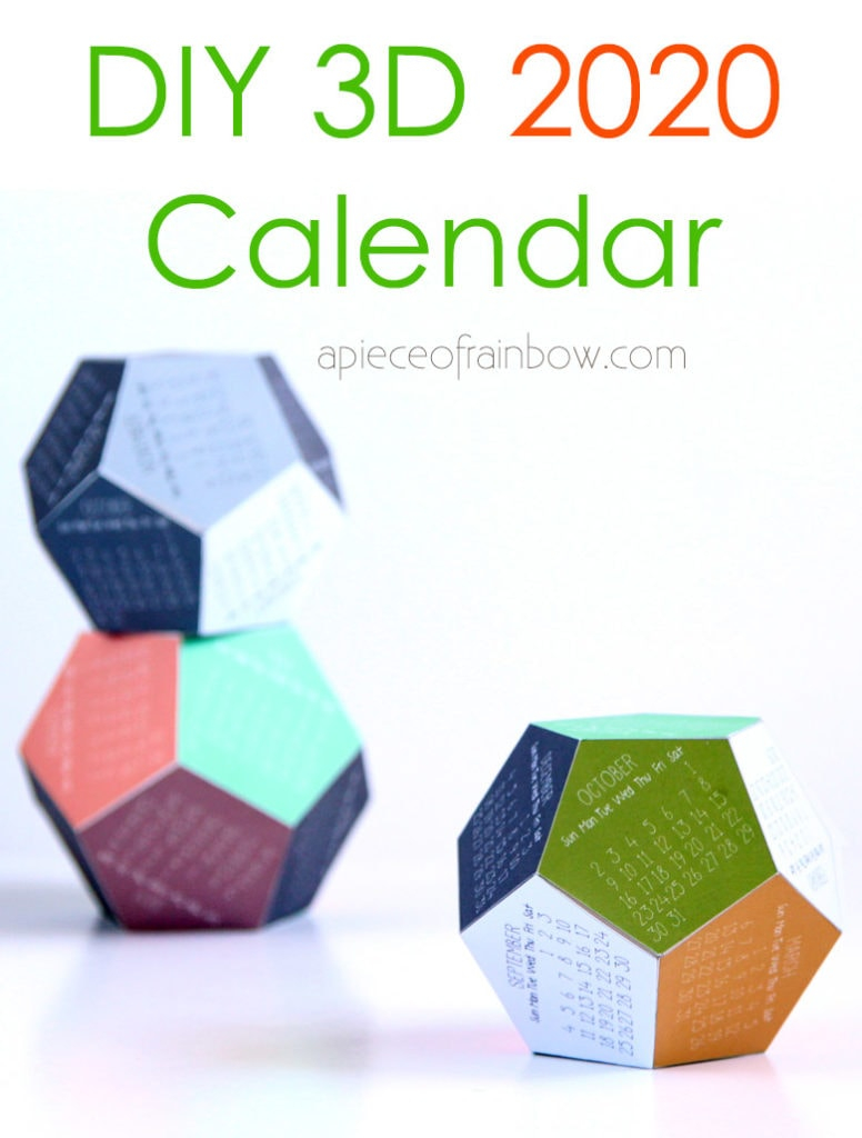 Diy 3D 2020 Calendar! (With Free Printable Template) - A
